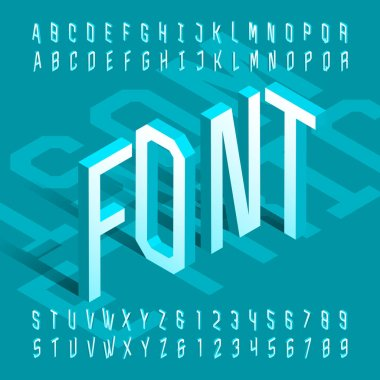 3D isometric alphabet font. 3d effect thin letters and numbers. Stock vector typeface for your design.