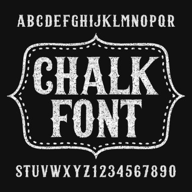 Chalk alphabet font. Hand drawn uppercase letters and numbers. Stock vector typeface.