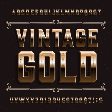 Vintage Gold alphabet font. Beveled letters and numbers on distressed background. Stock vector typeface for your design.