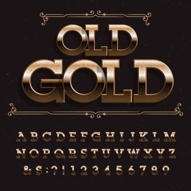 Old Gold alphabet font. Beveled messy letters and numbers on distressed background. Stock vector typeface for your design.