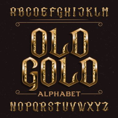 Old Gold alphabet font. Vintage ornate golden letters on distressed background. Stock vector typescript for your design.