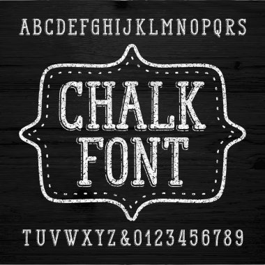Chalk alphabet font. Hand drawn messy letters and numbers. Stock vector typescript.