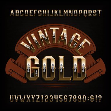 Vintage Gold alphabet font. Golden letters and numbers with diamond gemstone. Stock vector typescript for your design.