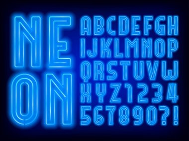Blue neon alphabet font. Retro light bulb uppercase letters and numbers. Stock vector typeface for your typography design.