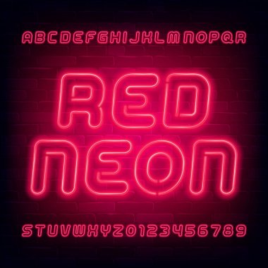 Red neon alphabet font. Light bulb uppercase letters and numbers. Stock vector typeface for your typography design.