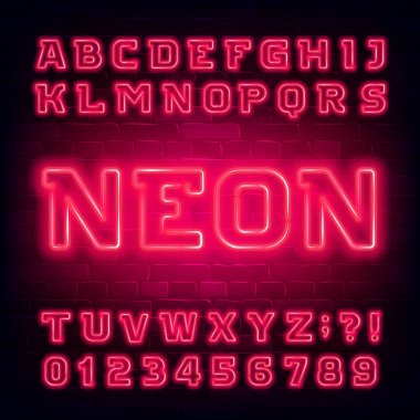 Red neon alphabet font. Light bulb modern oblique letters and numbers. Stock vector typeface for your typography design.
