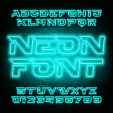 Neon alphabet font. Light bulb futuristic oblique letters and numbers. Stock vector typeface for your typography design.