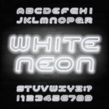 White neon alphabet font. Modern light bulb capital letters and numbers. Stock vector typeface for your typography design.