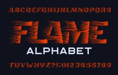Flame alphabet font. Flame effect type letters and numbers on dark background. Stock vector typescript for your design.