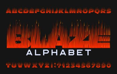 Blaze alphabet font. Flame effect type letters and numbers on dark background. Stock vector typeface for your design.