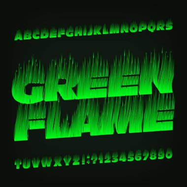Green Flame alphabet font. Fire effect type letters and numbers. Stock vector typescript for your design.