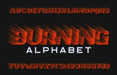 Burning alphabet font. Fire effect type letters and numbers on dark background. Stock vector typeface for your design.