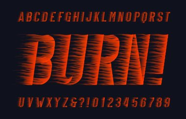 Burn alphabet font. Flame effect type letters and numbers on dark background. Stock vector typescript for your design.