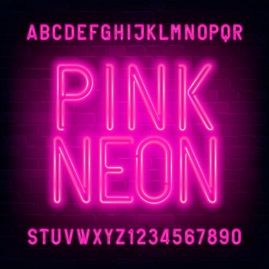 Pink Neon alphabet font. Light bulb letters and numbers on brick wall background. Stock vector typescript for your typography design.