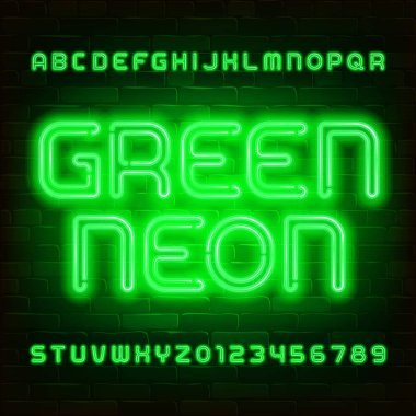 Green Neon alphabet font. Neon light retro letters and numbers on brick wall background. Stock vector typescript for your design.