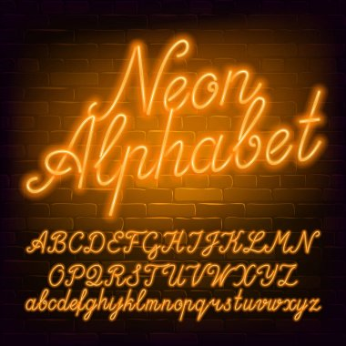 Neon script alphabet font. Yellow neon color lowercase and uppercase letters and numbers. Brick wall background. Stock vector typescript for your typography design.