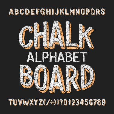 Chalk board alphabet font. Hand drawn 3d letters and numbers. Stock vector typeface.