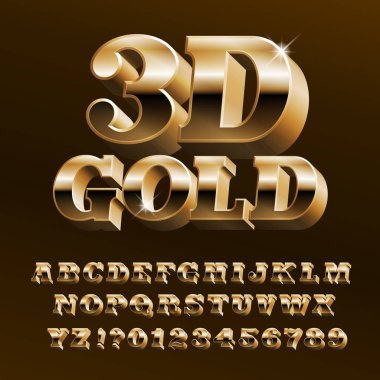3D gold alphabet font. Bright golden letters and numbers with bevel. Stock vector typeface for your design.