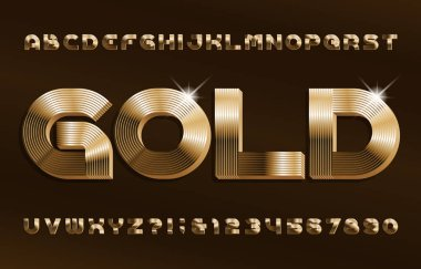 3D Gold alphabet font. Shiny golden letters and numbers in 70s style. Stock vector typescript for your design.