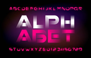 Abstract alphabet typeface. Modern letters and numbers. Easy color change. Stock vector typescript for your typography design. Abstract blurred background.