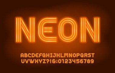 Neon alphabet font. Yellow neon light letters and numbers in 70s style. Blurred background. Stock vector typeface for your design.