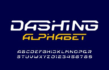 Dashing alphabet font. Dynamic letters and numbers. Stock vector typescript for your typography design.
