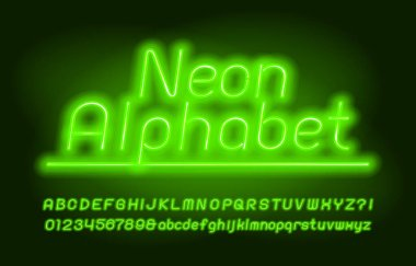 Neon alphabet font. Green neon light. Uppercase and lowercase letters and numbers. Stock vector typescript for your design.