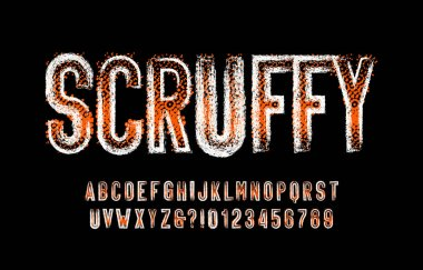 Scruffy alphabet font. Messy vintage letters, numbers and symbols. Stock vector typescript for your typography design.