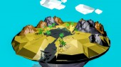 low poly desert landscape. an oasis in the air. 3D rendering