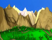Fotografie low poly desert landscape. ate on the background of the mountains. 3D rendering