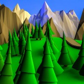 low poly desert landscape. ate on the background of the mountains. 3D rendering