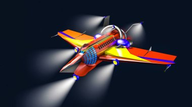 three-dimensional model of an interstellar aircraft on a dark background. 3D rendering