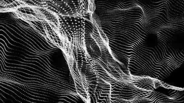 bílé částečky ve futuristické pomalu přesunout na černém pozadí. abstraktní pozadí. 3D vykreslování