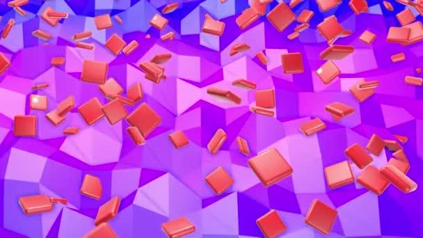 rote Würfel mit Fasen fliegen über die Low-Poly-Ebene. 3D-Darstellung