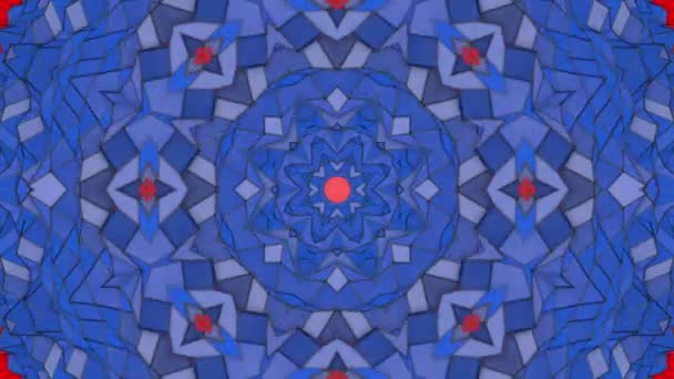 piros kék Kaleidoszkóp háttér. lassan halad, csillag alakú képernyővédő. 3D-leképezés