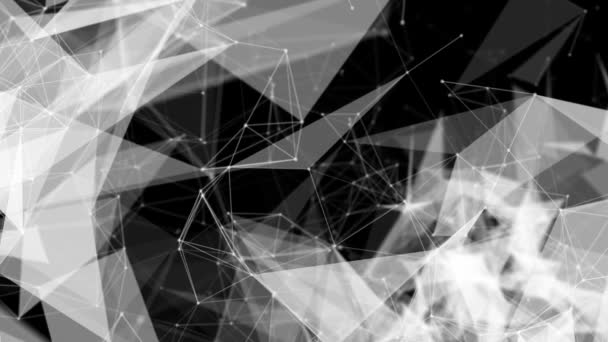 bílé spojovací částice pohybovat pomalu na černém pozadí. abstraktní pozadí. 3D vykreslování hloubka ostrosti a rozmazání