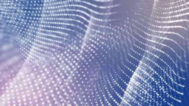 bílé trojrozměrný kulovitých částic pomalu letět na světle modrém pozadí. 3D vykreslování. Hloubka pole rozostření