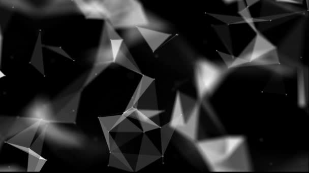 bílá trojúhelníková částice pohybovat pomalu na černém pozadí. černé a bílé pozadí abstraktní. 3D vykreslování