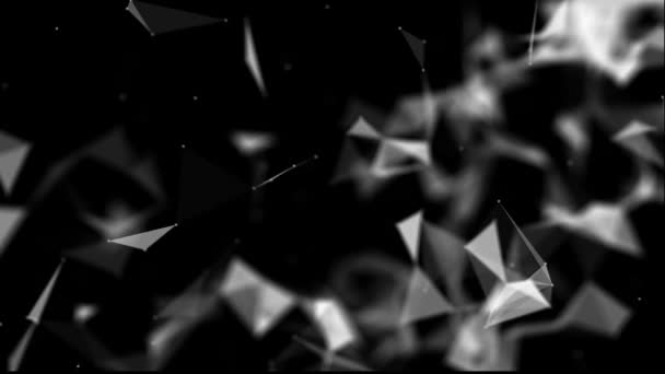 white triangular particles move slowly against a black background. black and white abstract background. 3D rendering