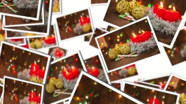 spousta vánočních přání letí na bílém pozadí. videa koláž. 3D vykreslování