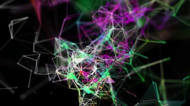 Měnící se barevné částice pohybovat pomalu na černém pozadí. 3D vykreslování. abstraktní pozadí