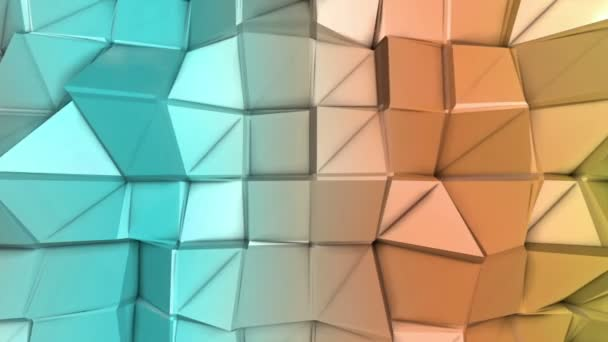 deforming multicolored low-polygonal surface moves slowly. abstract background. 3D rendering