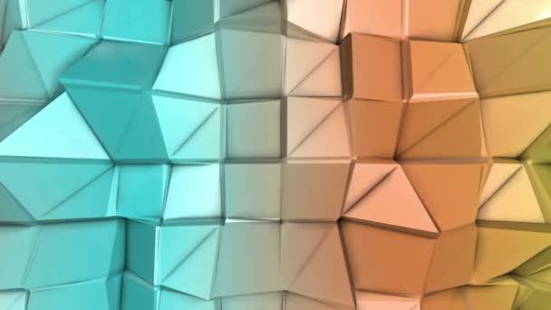 deformující vícebarevné nízké polygonální povrch pohybuje pomalu. abstraktní pozadí. 3D vykreslování