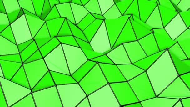 zelené nízké polygonální abstraktní pozadí. deformující letadlo. 3D vykreslování