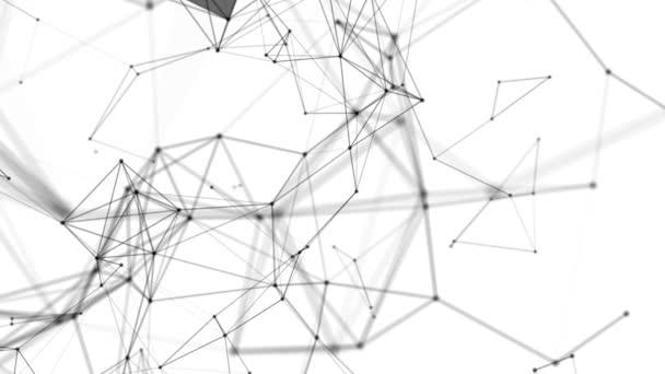 Černé kulaté částice propojeny proužky přesunout na bílém pozadí. abstraktní pozadí. 3D vykreslování