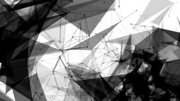 black round particles connected by strips move on a white background. abstract background. 3D rendering