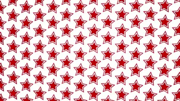 red three-dimensional stars revolve around an axis on a white background. 3D rendering