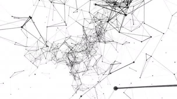Černé složené částice pomalu letět na bílém pozadí. abstraktní pozadí. 3D vykreslování