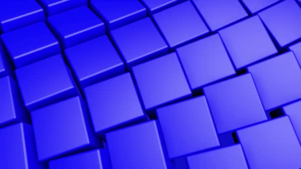 blue three-dimensional cubes slowly rotate. Abstract animated background. 3d rendering