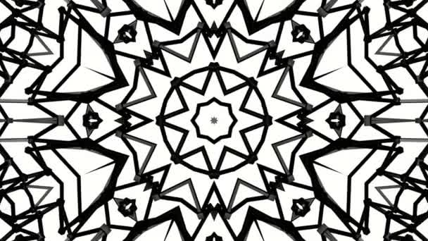 Black animated pattern on a white background. abstract kaleidoscope background. 3d render